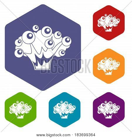 High power explosion icons set hexagon isolated vector illustration