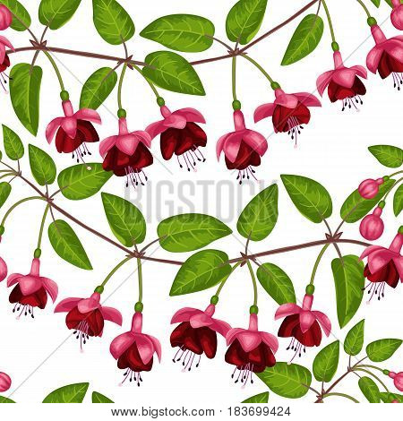 Pink fuchsia seamless pattern on white. Background for postcards, greeting cards, wedding invitations. Romantic floral wallpaper.