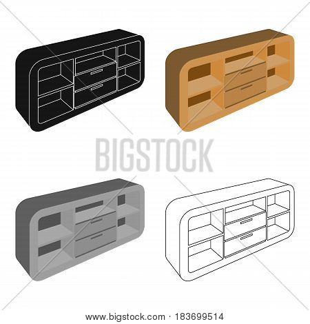 Wooden Cabinet with lockers and cupboards.TV stand.Bedroom furniture single icon in cartoon style vector symbol stock web illustration.