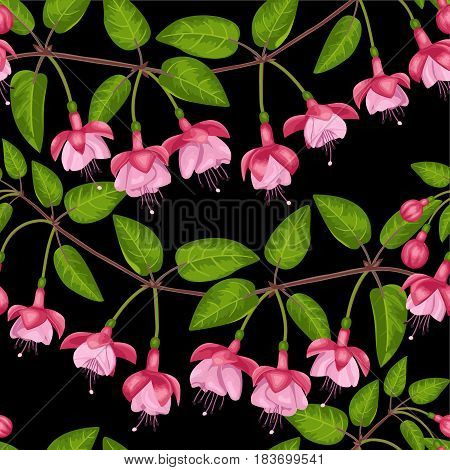Pink fuchsia seamless pattern on black. Background for postcards, greeting cards, wedding invitations. Romantic floral wallpaper.