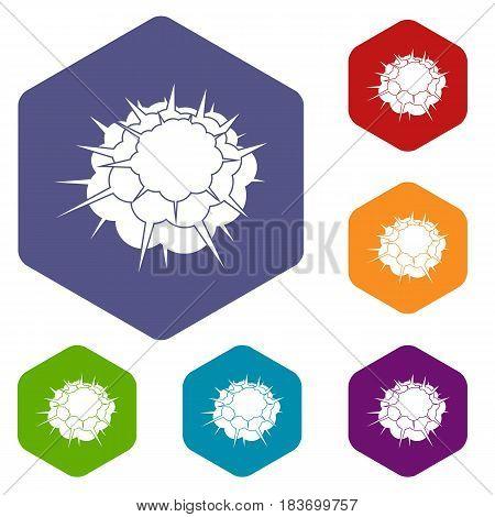 Atomic explosion icons set hexagon isolated vector illustration