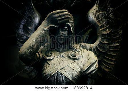 Dark Angel Fallen old Sculpture form Wood