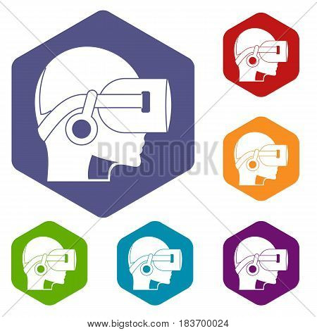 Vr headset icons set hexagon isolated vector illustration