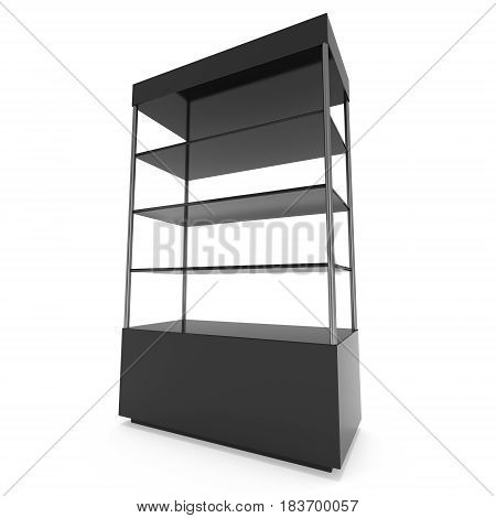 Empty showcase with glass shelves for exhibit. 3D render illustration isolated on white background. Trade show booth black pedestal for expo design.