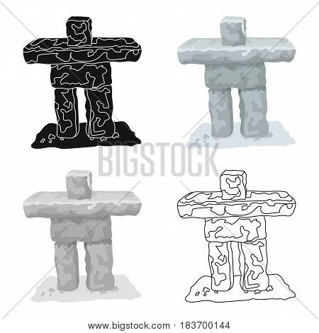 Stone sculpture in canada. Canada single icon in cartoon style vector symbol stock illustration .