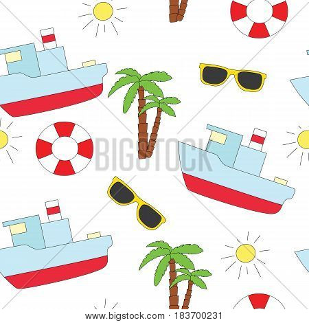 Seamless sea pattern on a white background. A vector picture with a lifebuoy, sunglasses, the ship and palm trees
