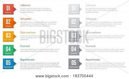 numbered list set template for webdesign, flat design