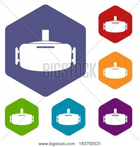 Vr device icons set hexagon isolated vector illustration