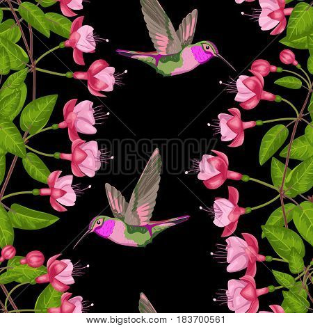 Pink fuchsia and hummingbird seamless pattern on black. Background for postcards, greeting cards, wedding invitations. Romantic floral wallpaper.