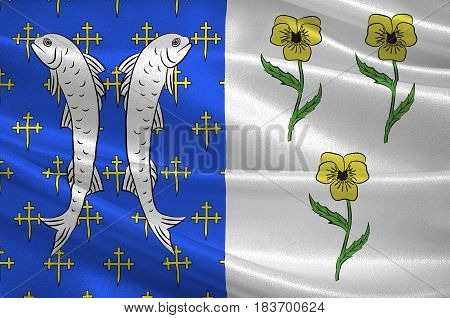Flag of Bar-le-Duc is a commune in the Meuse departement of which it is the capital. The department is in Grand Est in northeastern France. 3D illustration