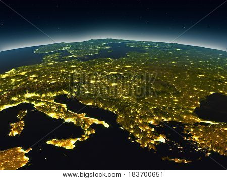 Adriatic Sea Region From Space In The Evening
