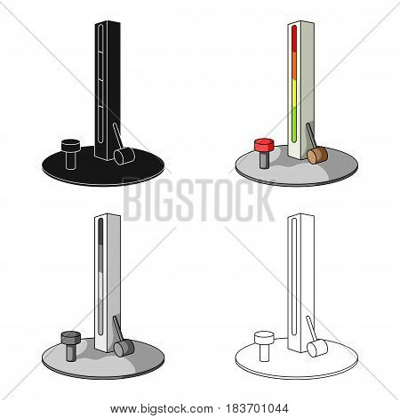 Entertainment on the impact force. Beat the hammer on the stand.Amusement park single icon in cartoon style vector symbol stock web illustration.