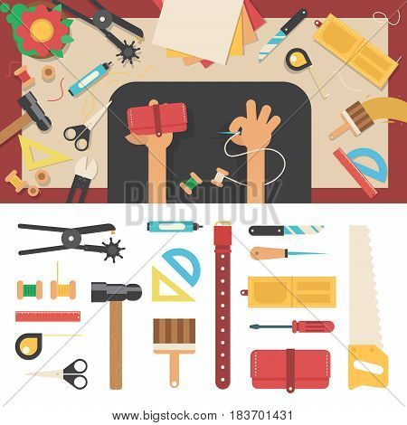 Geometric illustartion of workplace for leather goods. Hobby and leisure concept. Table with tools and working hands with needle. Hammer, needle, saw and goods isolated on white background