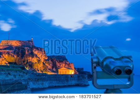 Hellenic temple and old castle at Corfu island at dawn shallow DOF
