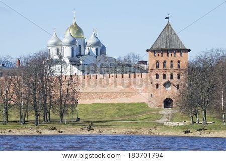 View of dome of Hagia Sophia and Vladimirskaya tower. The Kremlin of Veliky Novgorod, Russia
