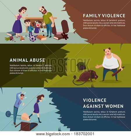 Social aggression horizontal banners with parents shouting at children animal abuse and violence against woman vector illustration