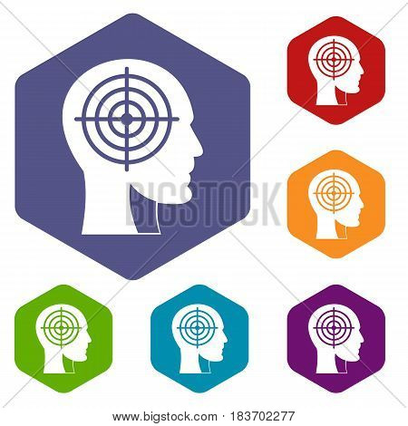 Crosshair in human head icons set hexagon isolated vector illustration