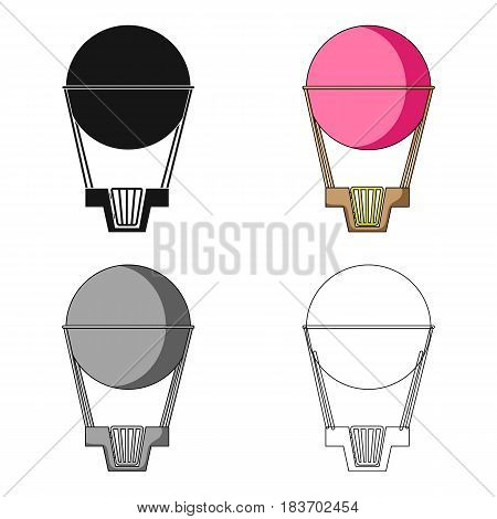 Aerostat. Pink big balloon for flight and travel.Amusement park single icon in cartoon style vector symbol stock web illustration.