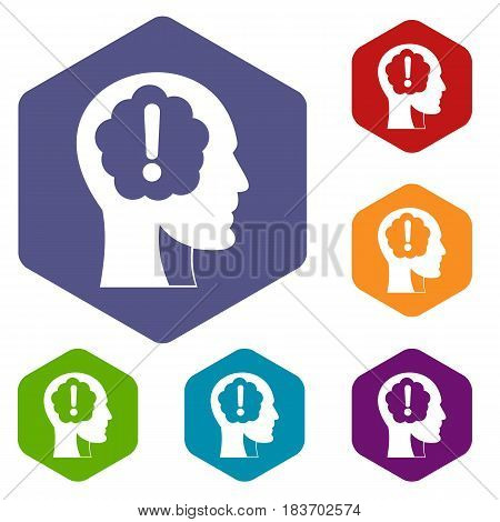 Head with exclamation mark inside icons set hexagon isolated vector illustration
