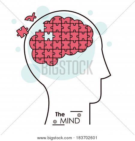 the mind puzzle jigsaw problem brain vector illustration