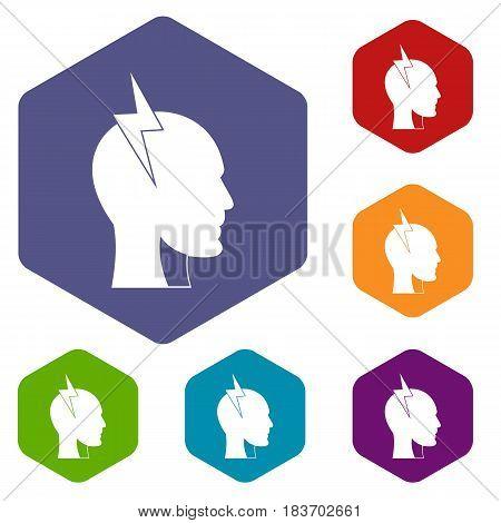 Lightning bolt inside head icons set hexagon isolated vector illustration