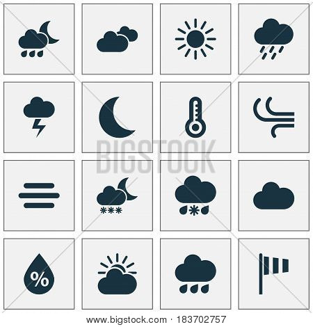 Meteorology Icons Set. Collection Of Lightning, Cloudy, Rainy And Other Elements. Also Includes Symbols Such As Sunlight, Hot, Humidity.