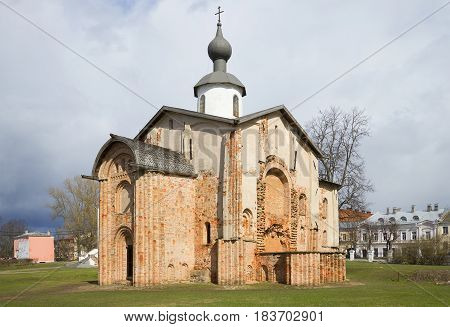 The old Church Paraskevy Friday, cloud april day. Veliky Novgorod, Russia