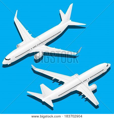 Vector isometric planes set of 2 illustration.