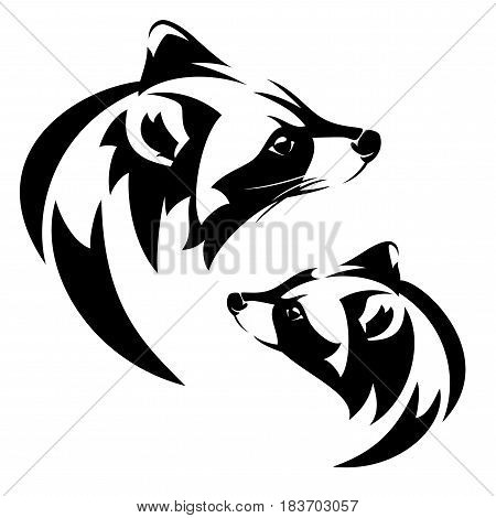 raccoon (Procyon lotor) profile head - black and white vector design