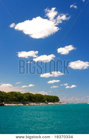 Waterfront Cloudscape by Lake Michigan, photo taken at Chicago Navy Pier at Summer Time