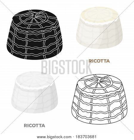Ricotta.Different kinds of cheese single icon in cartoon style vector symbol stock illustration .