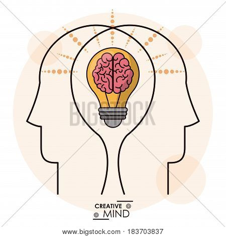 creativity mind heads brain bulb efficient memory team vector illustration