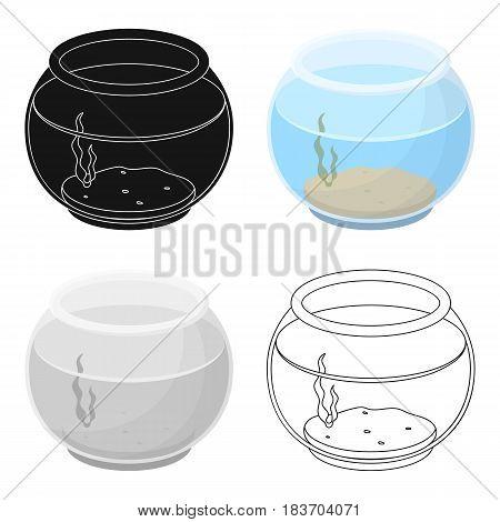 Aquarium with water.Pet shop single icon in cartoon style vector symbol stock illustration .