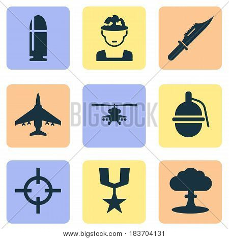 Combat Icons Set. Collection Of Target, Bombshell, Atom And Other Elements. Also Includes Symbols Such As Target, Cutter, Gong.