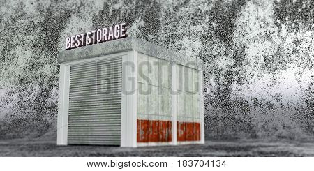 3d illustration of a self storage unit on concrete background
