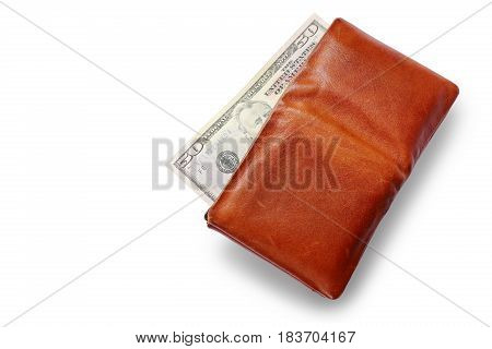 Men's Wallet With Dollar cash isolated on white background.