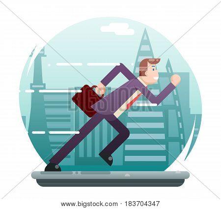Businessman Running Character Urban Landscape Street City Background Flat Design Vector Illustration