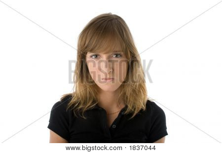 Young woman with displeased expression on her face. Isolated over white poster
