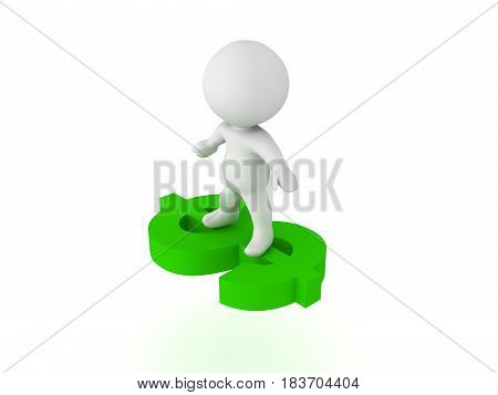 3D Character Flying On A Green Dollar Symbol