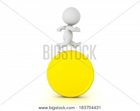 3D Character Running On Top Of Gold Coin