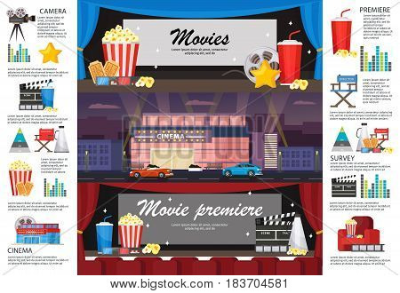 Cinematography infographic horizontal banners with movie premiere cinema building camera filmstrip snacks chairs tickets megaphone vector illustration