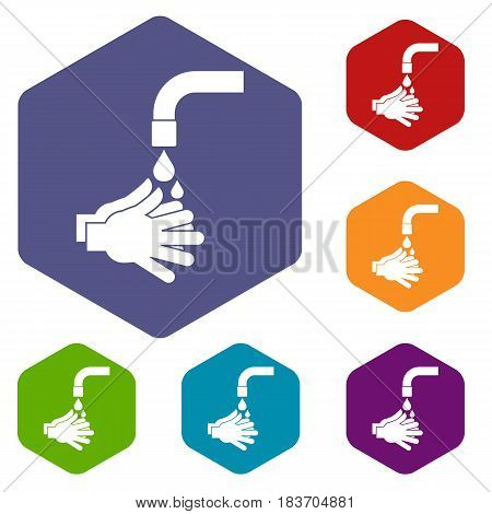 Cleaning hands icons set hexagon isolated vector illustration