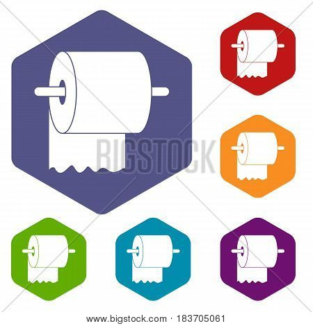 Roll of toilet paper on holder icons set hexagon isolated vector illustration