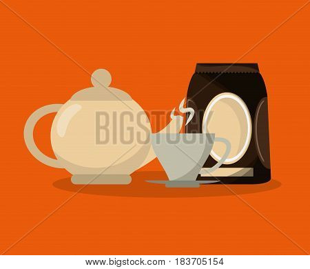 colorful background set packaking of coffee and teapot with porcelain mug vector illustration