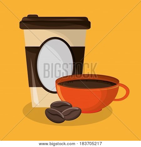 background glass disposable for hot drinks with cup of coffee and beans vector illustration