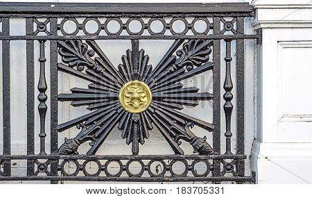 Beautiful Decoration With Metal On A Balustrade, Center Animal Head, Architecture Decor