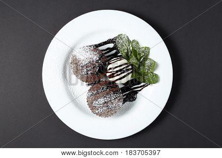 Chocolate Fondant With Ice Cream. Dessert.