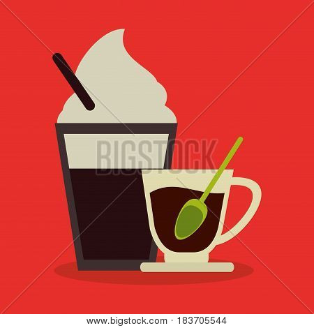background set cappuccino with cream and porcelain cup of coffee vector illustration