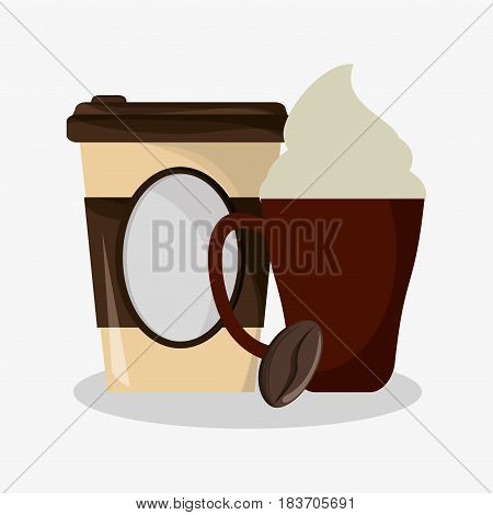 cup of capuccino with cream and glass disponsable for hot drinks and grain of coffee vector illustration
