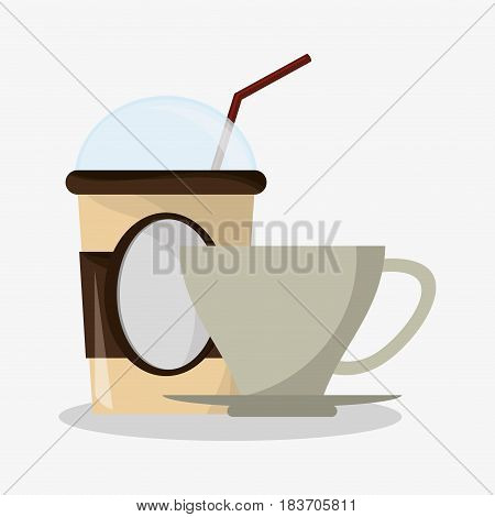 glass disponsable for hot drinks with lid and porcelain crockery and cup vector illustration